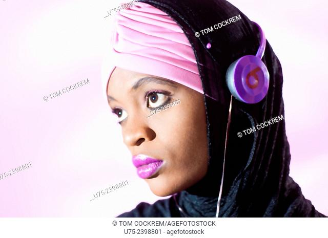 Kenyan Muslim woman in studio setting