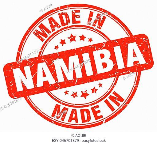 made in Namibia red grunge round stamp