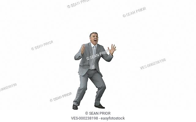 Mann springt jubelnd in die Luft