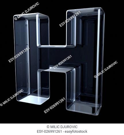 Transparent x-ray letter H. 3D render illustration on black background