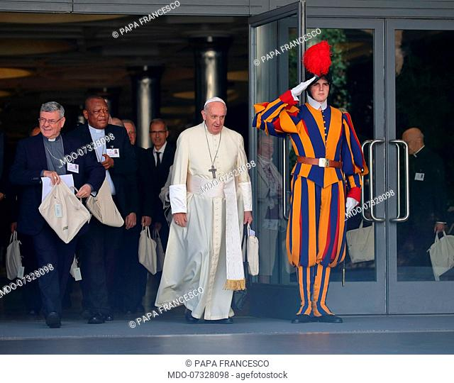 Pope Francis during the Special Assembly of the Synod of Bishops for the Pan-Amazon region on the theme of the Amazon: New Roads for the Church and for Integral...