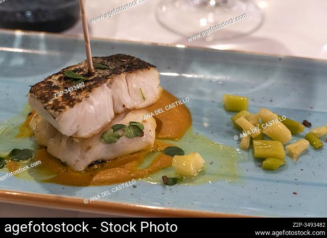 Whitefish fillet served on blue stone plate