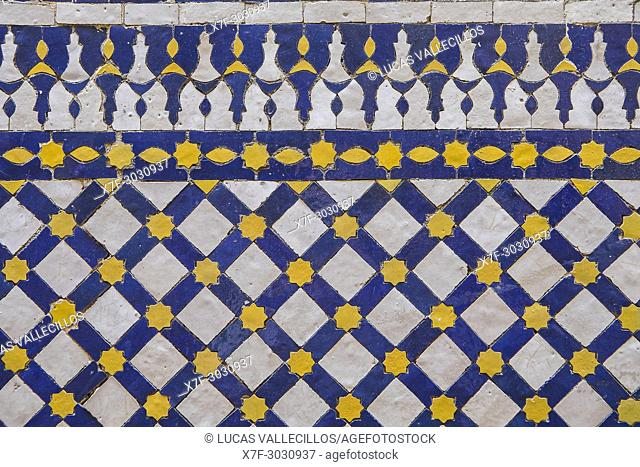 Detail, tiled ornamentation,Courtyard of Zaouia (tomb) of Moulay Idriss II, medina, Fez. Morocco