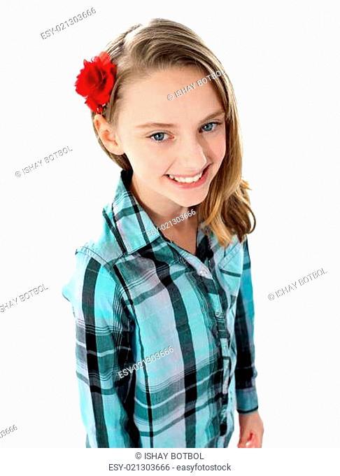 Aerial view of smiling cute rose girl