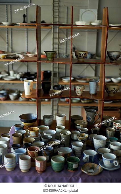 Large group of traditional Japanese ceramics