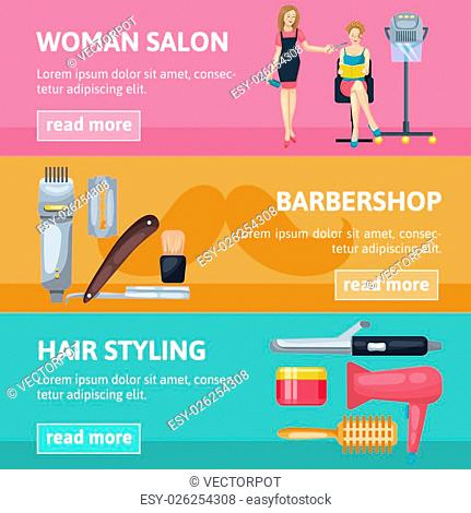 Three horizontal banners set for barbershop and woman beauty salon with cartoon style characters and tools vector illustration