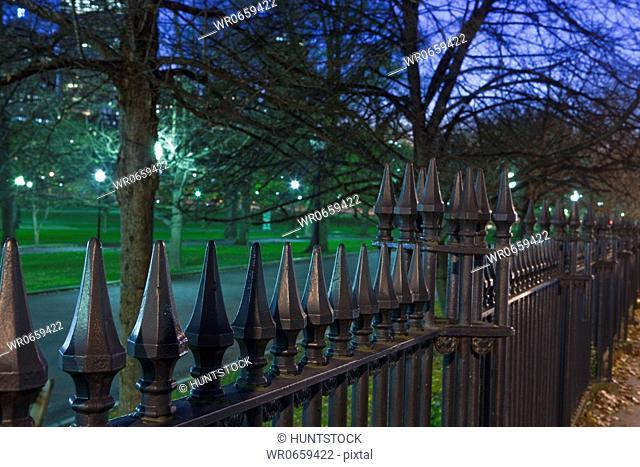 Iron fence around a park, Boston Common, Boston, Suffolk County, Massachusetts, USA