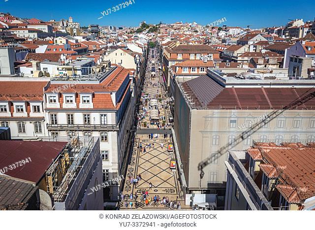 Aerial view from Rua Augusta Arch in Lisbon, Portugal with Rua Agusta pedestrian street