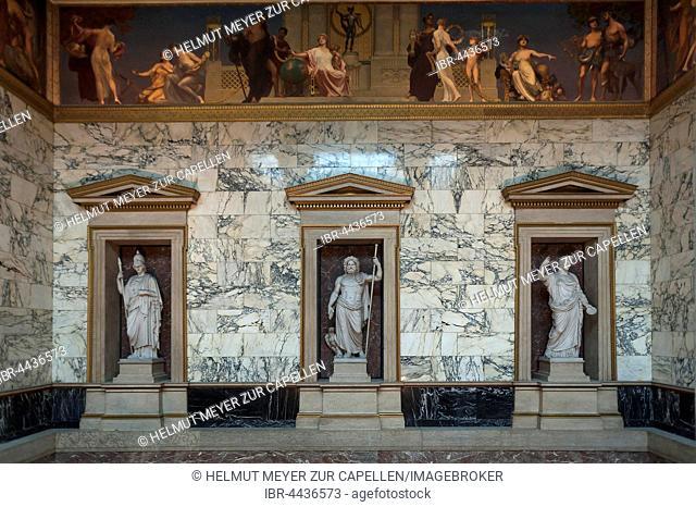 Sculptures and frieze in stairwell of Austrian Parliament, established in 1883, Vienna, Austria
