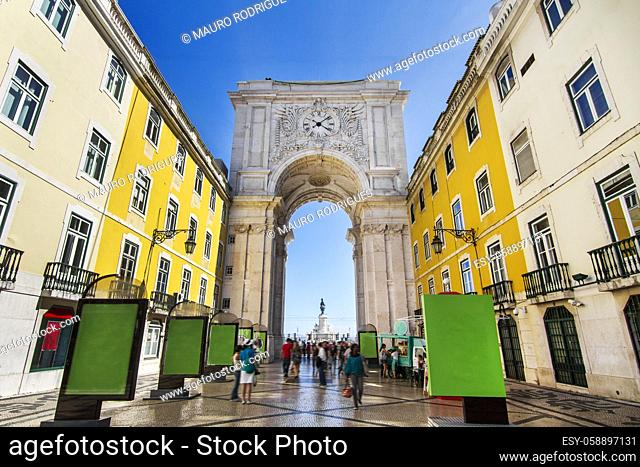 View of the famous arch of the Augusta street located in Lisbon, Portugal