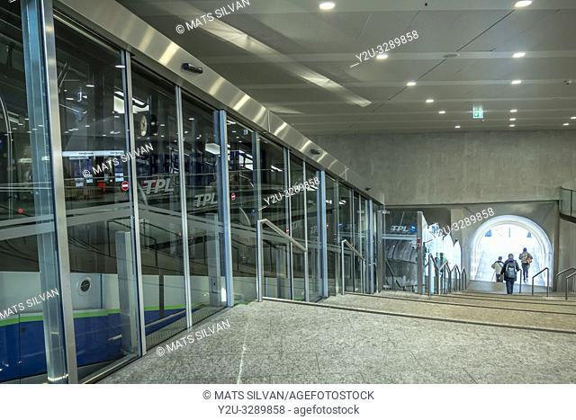 Tram in Lugano Railroad Station in Ticino, Switzerland