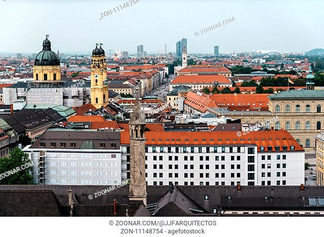 Munich, Germany - August 3, 2017: Scenic panoramic high angle view of historical city centre of Munich from the tower of the church of St Peter