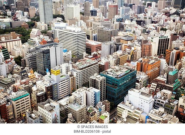 Downtown Tokyo skyline viewed from above