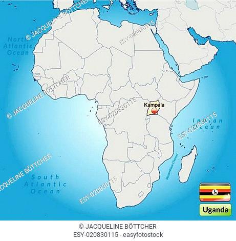 Umgebungskarte von Uganda mit Hauptstädten in Pastelorange