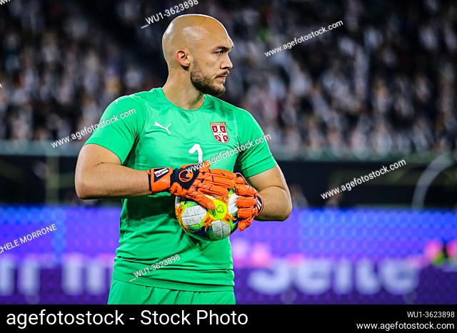 Wolfsburg, Germany, March 20, 2019: portrait of Serbian goalkeeper Marko Dmitrovic during the international friendly game between Germany and Serbia at...