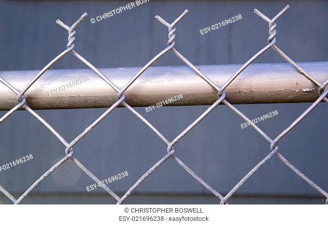 Backyard Re-Painted Metal Chain Link Fence Top Post Wire
