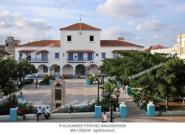 Fidel Castro balcony, town hall, Parque Cespedes, old town, Santiago de Cuba, Cuba, Caribbean, Central America