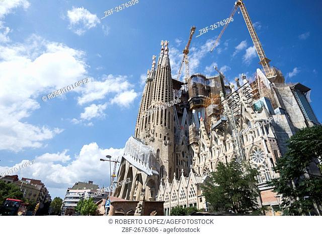 The beautiful and amazing Sagrada Familia by Gaudi, Barcelona, Spain