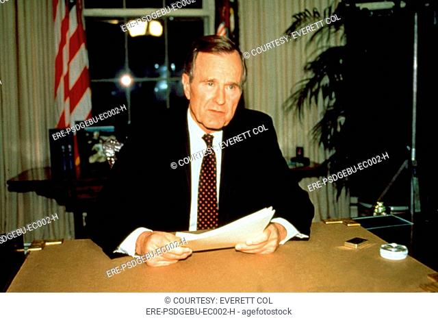 President GEORGE BUSH during a television address concerning the L.A. riots, 4/92