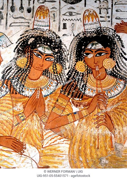 A detal of part of a banquet scene from the tomb of Nebamun
