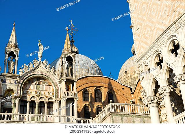 Basilica of Saint Mark in a sunny day with blue sky in Venice, Italy
