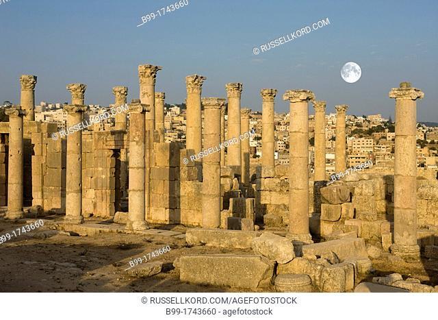 Stone Columns Saint Theodore Church Ruins Jerash Jordan