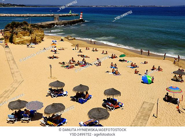 Europe, Portugal, Southern Portugal , Algarve region , Faro district , Lagos, panoramic view of Atlantic Ocean, Praia Batata - Batata beach near mouth of...