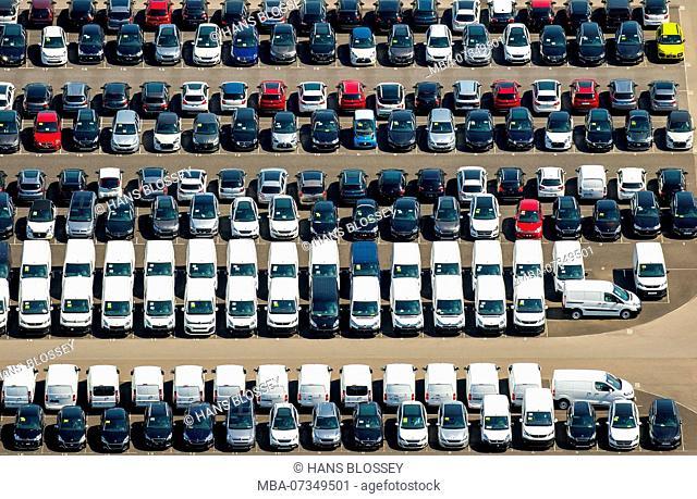 New car parking lot, Wallenius Wilhelmsen Logistics Germany GmbH, Citroen, Peugeot, Ford new car, autologistics company, colorful row of cars, Zülpich