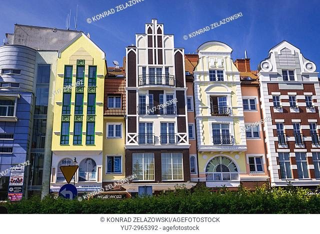 Renovated tenement houses on the Old Town of Kolobrzeg city in West Pomeranian Voivodeship of Poland
