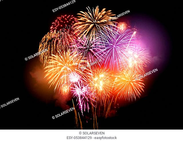 Bright and colourful fireworks display celebrations at night