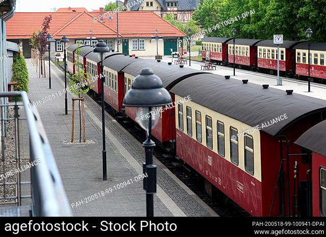16 May 2020, Saxony-Anhalt, Wernigerode: HSB passenger coaches are located at the main station in Wernigerode. The Harz narrow-gauge railways are again running...