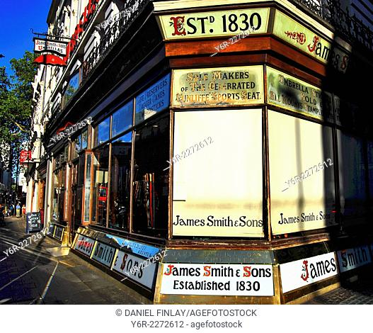 19th century umbrella shop on New Oxford Street in the heart of London on a sunny day