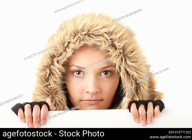 Beautiful woman and blank sign
