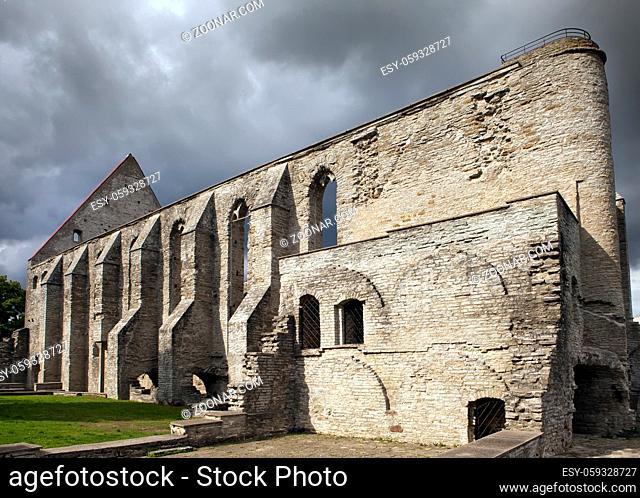 Ancient ruined St. Brigitta convent ( 1436 year) in Pirita region, Tallinn, Estonia
