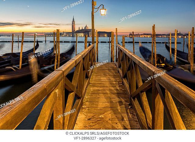 Europe,Italy,Veneto,Venice,Riva degli Schiavoni. Port of the classic Venetian gondolas