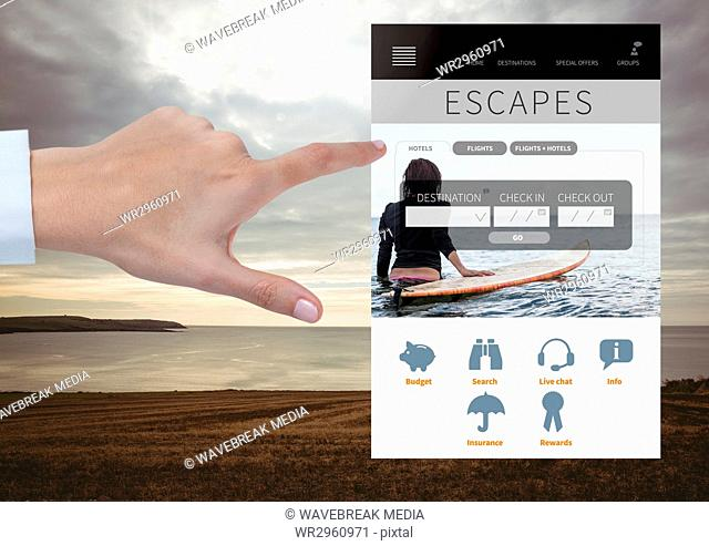 Hand Touching Escapes Holiday break App Interface with sea