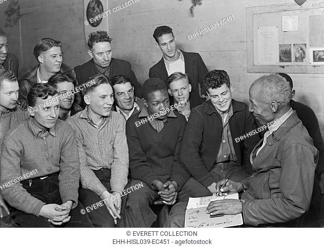 Unemployed men attending a meeting of the Workers' Alliance Council in 1936. Most are young second generation miners. The integrated group with an African...