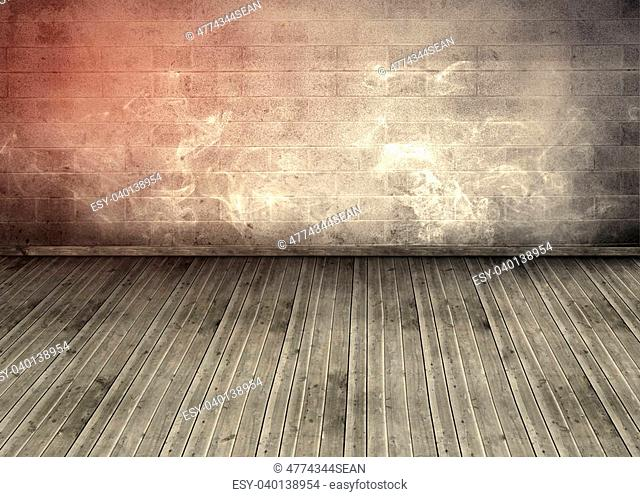 Empty room with brick wall and wooden boards with smoke floating everyw