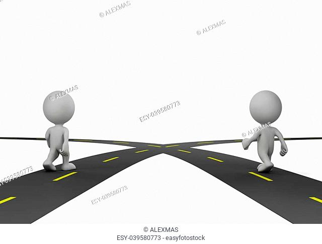 Two people at the crossroads. 3d image. White background