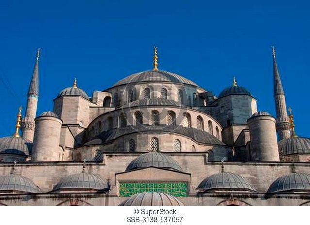 Low angle view of a mosque, Blue Mosque, Istanbul, Turkey