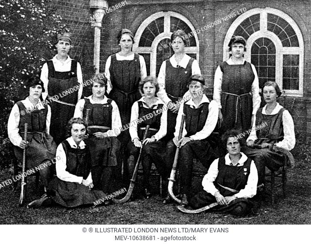 Hockey as a sport for women at Cambridge University: the Newnham College hockey team, 1921. Newnham College was founded in 1871