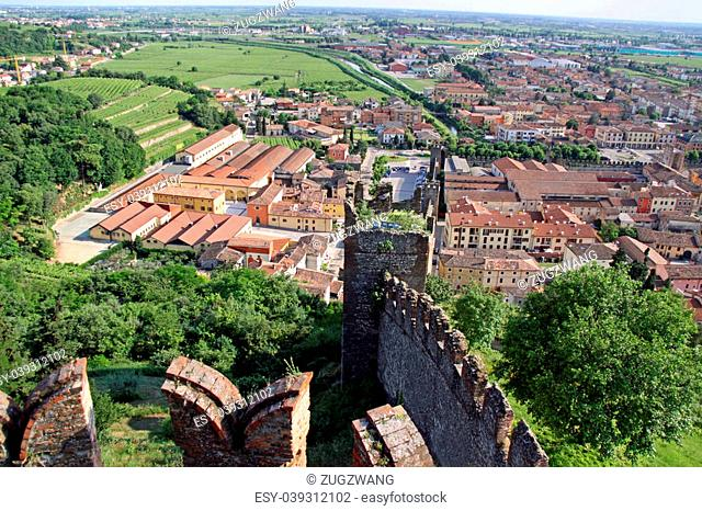 View from Scaligero Castle on Tenda Hill in Soave, Veneto, Italy