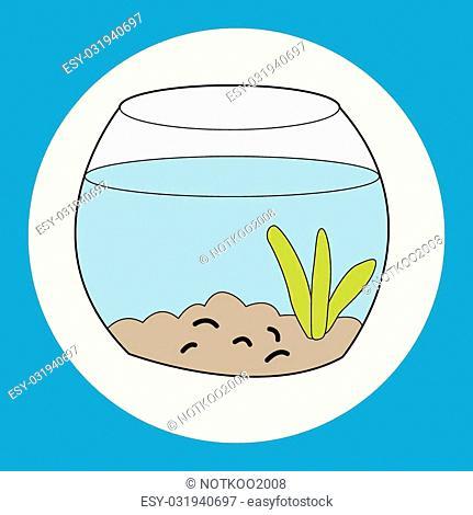 Pet goldfish bowl theme element vector, eps10