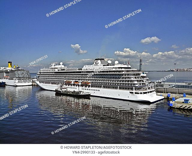 Cruise ships and a fuel tender in port at St. Petersburg, Russia