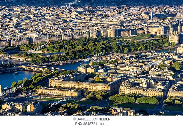 France, 1st and 7th arrondissements of Paris, view from the Eiffel Tower (Tuileries Garden, esplanade des Invalides, Seine river)