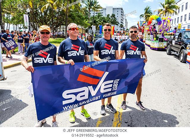 Florida, Miami Beach, Lummus Park, Gay Pride Week, LGBTQ, LGBT, Pride Parade, participants, staging area, SAVE, banner