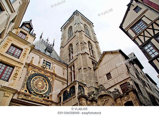 Clock in the Rue du Gros-Horloge, Rouen, Haute-Normandy, France