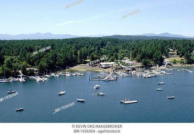 Aerial view of Silva Bay Marinas, Gabriola Island, Gulf Islands, British Columbia, Canada