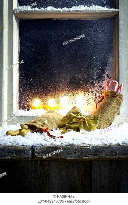 romantic christmas decoration on a window 13