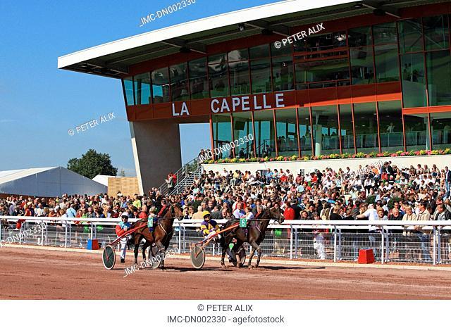 France, Picardy, La Capelle, trot race